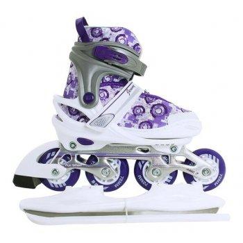 Коньки раздвижные со сменными рамами JR Jenny COMBO бело-фиолетово-серебристые